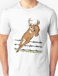 Deer Leaping Barb Wire Fence T-Shirt