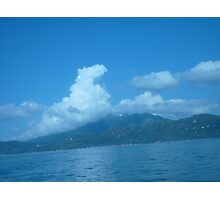 Dragon floating over a Island Photographic Print