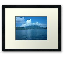 Frog cloud jumping over the mountain. Framed Print