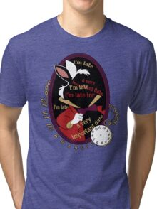 """I'm late"" Sticker Tri-blend T-Shirt"