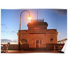 Kiosk on St Kilda pier at sunset Poster