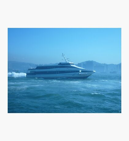 Small ferry blasting across the harbour. Photographic Print