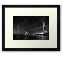 Palm Tree on the Pier - Fireworks @ Blackpool, Fylde, Lancashire Framed Print