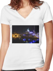 Reflecting on Malta - Grand Harbour Marina Women's Fitted V-Neck T-Shirt