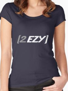 """""""2 EZY"""" men's grey & white 2 sided t-shirt Women's Fitted Scoop T-Shirt"""