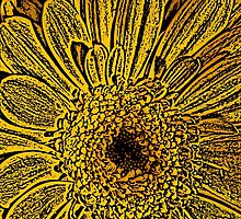 Yellow Flower Woodcut by Colin Bentham
