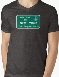Welcome to New York, Road Sign, USA  Mens V-Neck T-Shirt
