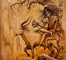 Shiva on Nandi bull by Vrindavan Das