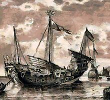 Chinese Junk at Singapore, ca.1800 by Dennis Melling