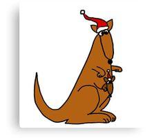 Funny Cool Christmas Kangaroo with Santa Hat Canvas Print