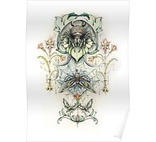 Antique pattern - Spider and Moths Poster