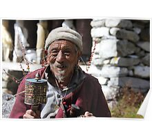 Old Tibetan man and prayer wheel Poster