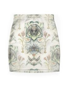 Antique pattern - Spider and Moths Mini Skirt