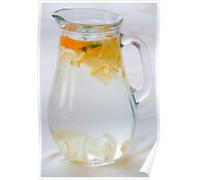 Pitcher with water and fruits Poster