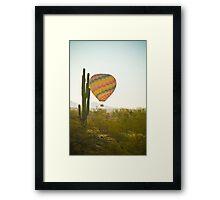 Hot Air Balloon over the Arizona Desert With Giant Saguaro Cactu Framed Print