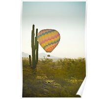 Hot Air Balloon over the Arizona Desert With Giant Saguaro Cactu Poster