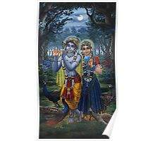Radha and Krishna on full moon Poster