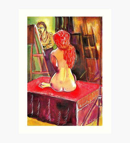 Gabrielle the Golden Hair Maiden Art Print