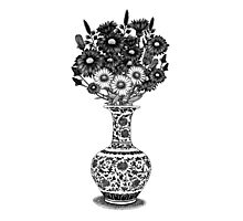 Chinese Vase with Wild Flowers Photographic Print