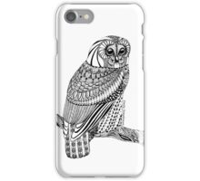 Zentangle Tawny Owl with branch iPhone Case/Skin