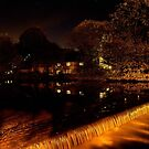 Evening Weir Over The River Wye At Bakewell by Mark Dobson