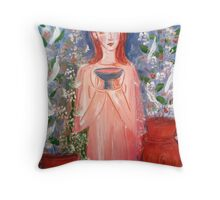 child with a cup  Throw Pillow