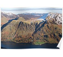 Winter mountain tops across Buttermere Poster