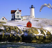 """Cape Neddick """"Nubble"""" Lighthouse in the snow by Jeremy D'Entremont"""