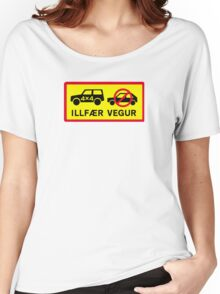 Difficult Road, Traffic Sign, Iceland Women's Relaxed Fit T-Shirt
