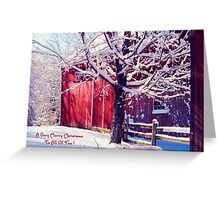 Red Barn in the Winter ~ Connecticut ~ USA Greeting Card