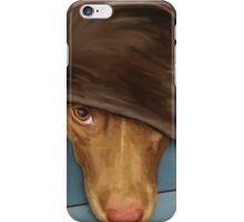 Painting of a Cute Red Nose Pitbull under a Blanket  iPhone Case/Skin