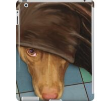 Painting of a Cute Red Nose Pitbull under a Blanket  iPad Case/Skin