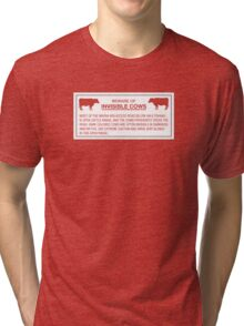 Beware of Invisible Cows, Sign, Hawaii, US - Contrast Version Tri-blend T-Shirt