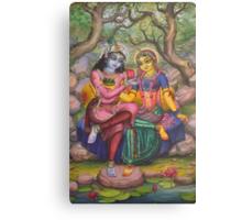 Radha and Krishna on Govardhan Canvas Print