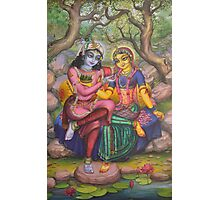 Radha and Krishna on Govardhan Photographic Print