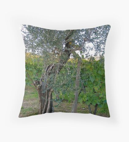 Olive Tree and Grape Vine, Tuscany Throw Pillow