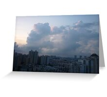 Morning clouds towering over the city Greeting Card