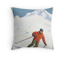 Vintage Ski Mount Hood Travel Poster Throw Pillow