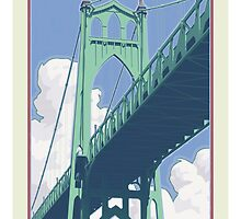 Vintage St. Johns Bridge Travel Poster by mitchfrey