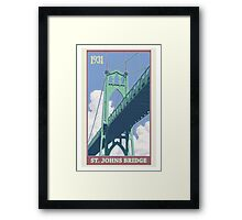Vintage St. Johns Bridge Travel Poster Framed Print