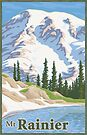Vintage Mount Rainier Travel Poster by mitchfrey