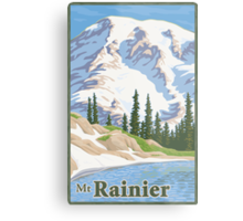 Vintage Mount Rainier Travel Poster Metal Print