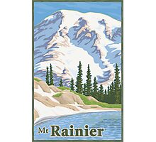 Vintage Mount Rainier Travel Poster Photographic Print