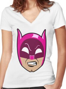 B-Man Pink Cowl Women's Fitted V-Neck T-Shirt