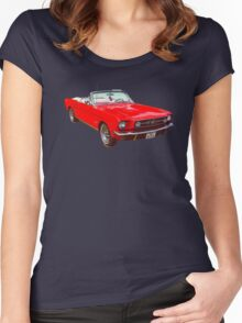 1965 Red Ford Mustang Convertible Women's Fitted Scoop T-Shirt