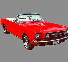 1965 Red Ford Mustang Convertible by KWJphotoart