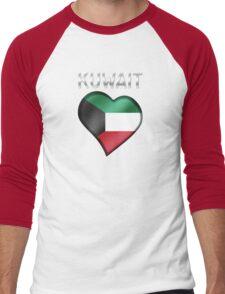 Kuwait - Kuwaiti Flag Heart & Text - Metallic Men's Baseball ¾ T-Shirt