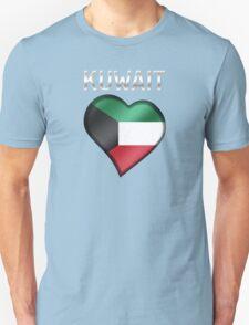 Kuwait - Kuwaiti Flag Heart & Text - Metallic Unisex T-Shirt