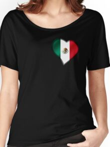 Mexican Flag - Mexico - Heart Women's Relaxed Fit T-Shirt