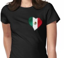 Mexican Flag - Mexico - Heart Womens Fitted T-Shirt